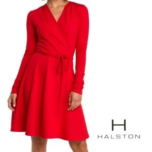 H BY HALSTON Faux Wrap Belted Long Sleeve Dress